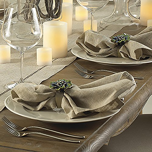 Natural Beige, Classic Tuscany Hemtitch Design 20 Inch Square Napkins (6 Piece (Tuscany Natural)