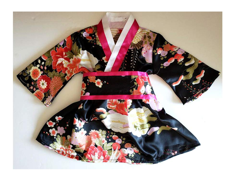 Toddler Girls Satin Kimono Robe Peacock Blossoms Bathrobes Weeding Gown Spa Wedding Birthday Ages 1-12
