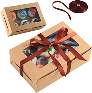 Circloophs 25 Packs Bakery Boxes with Window9.45x6x3 Inches Large Paper Cupcake Treat Boxes in Bulk for Christmas Holiday Gift Giving Pastry Boxes for Cookies, Pies, Desserts, Ribbons Included