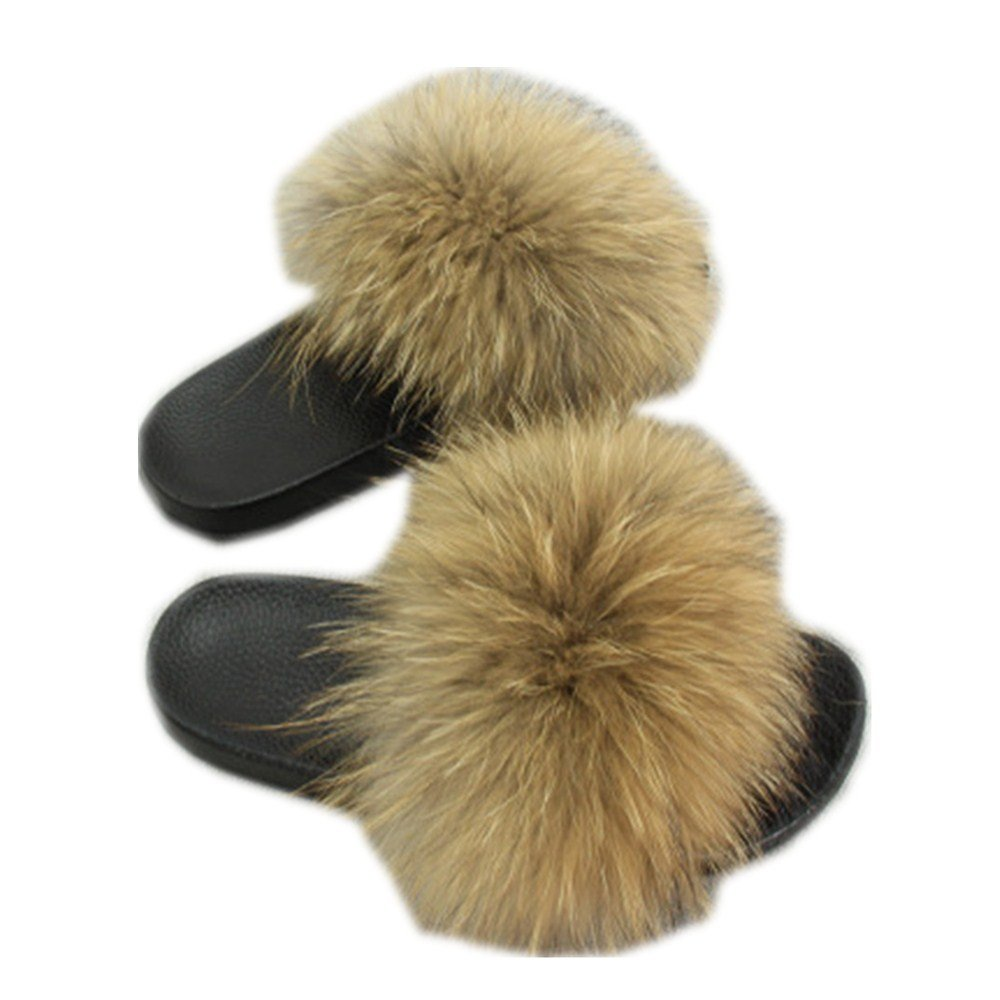 Women Real Fox Fur Feather Vegan Leather Open Toe Single Strap Slip On Sandals Multicolor (8, Natural) by QMFUR