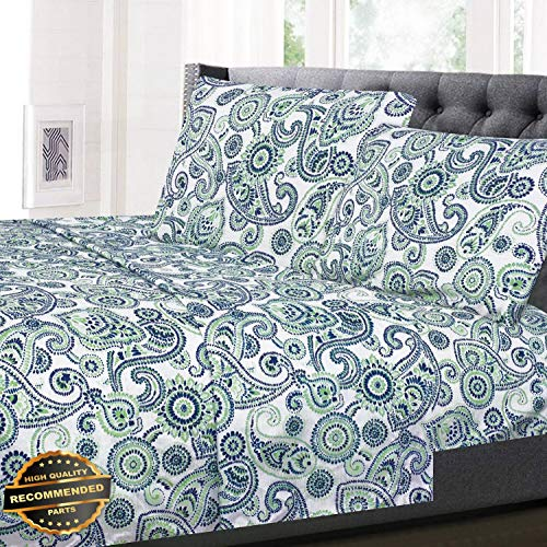 (Gatton New Premium Modern Paisley Pattern Blue/Green 4-Piece 1500 Supreme Collection Sheet Set | LINENIENHM-182012129 Cal King)