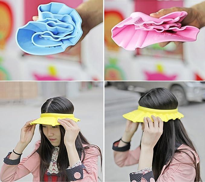 Elandy 3pcs Soft Adjustable Shampoo Bath Bathing Shower Cap Hat Wash Hair Shield Hat for Baby Kids Children Hair Cutting protect Color Random