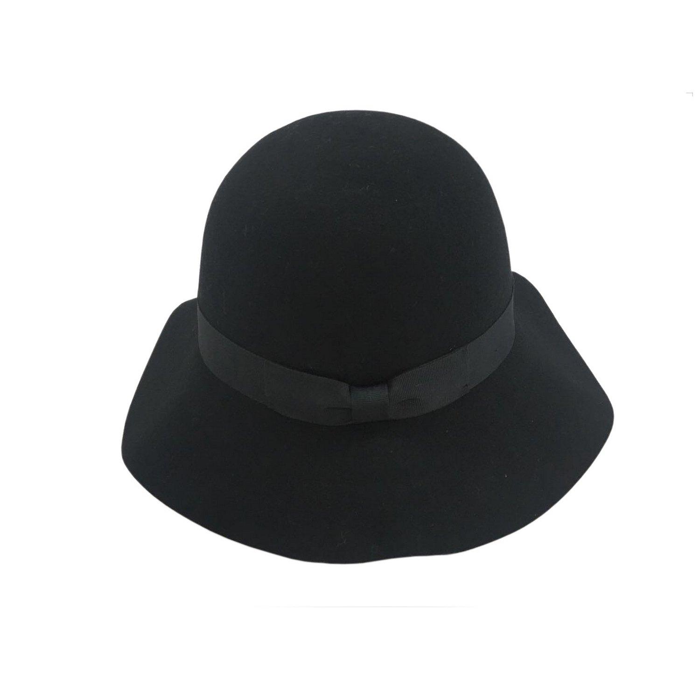 Women's Winter Short Brim 100% Wool Cute Bowler Felt Hat (black)
