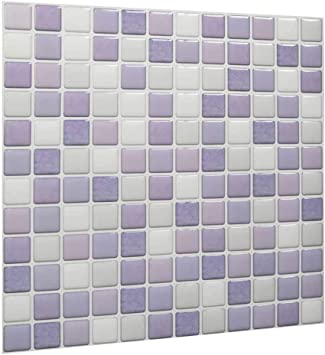 Peel And Stick Kitchen Wall Tiles Contact 3d Wall Panels Pu Resin Mosaic Self Adhesive Wall Tile Pvc Backsplash For Kitchen Bathroom White Purple Light Purple Color 10 Tiles Amazon Com