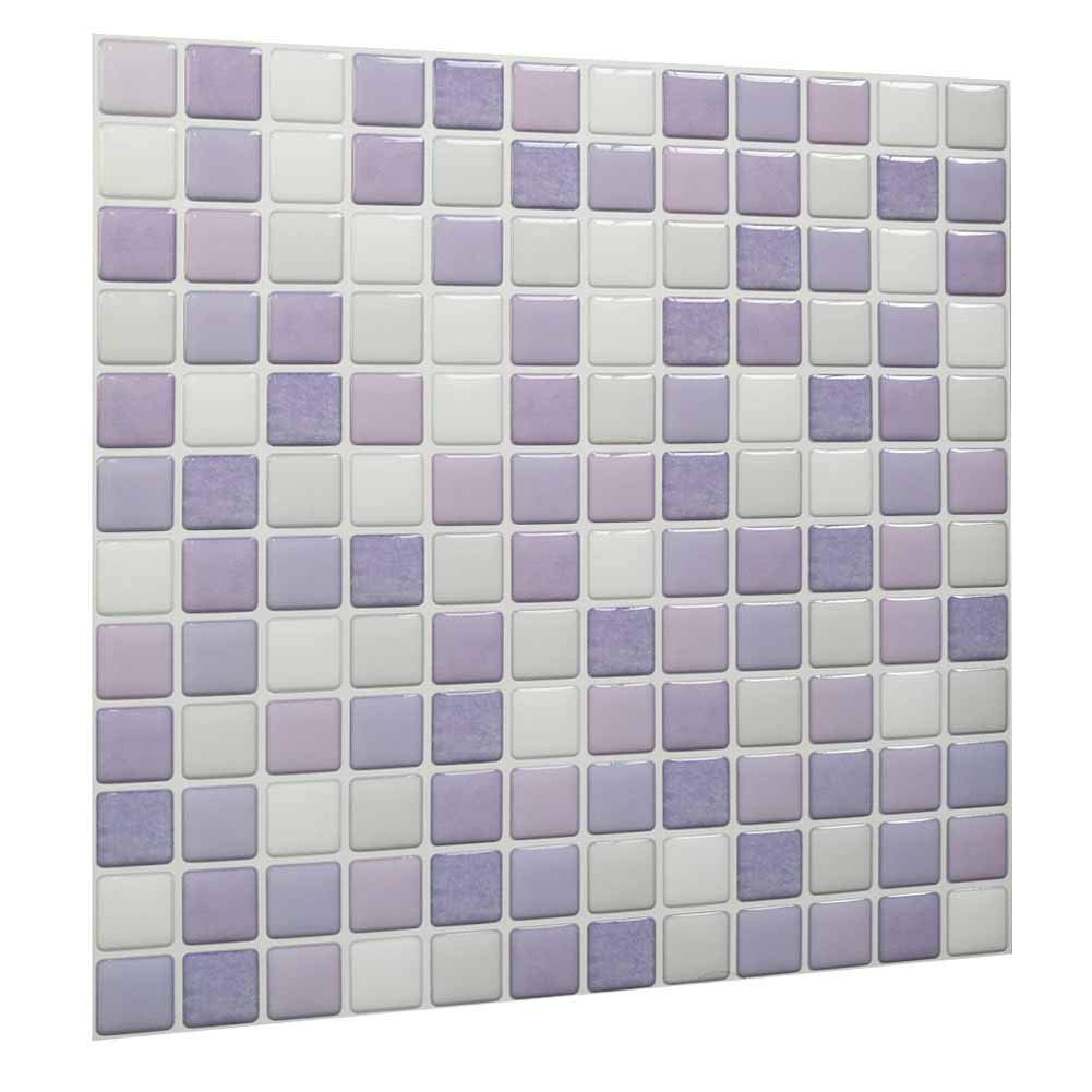 Peel And Stick Kitchen Wall Tiles Contact 3d Wall Panels Pu Resin Mosaic Self Adhesive Wall Tile Pvc Backsplash For Kitchen Bathroom White Purple Light Purple Color 10 Tiles Amazon In Home Improvement