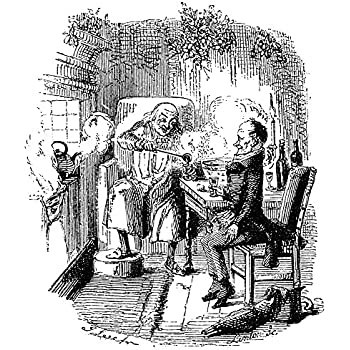 Amazon.com: Dickens Christmas Carol 1843 Ebenezer Scrooge And Bob Cratchit Etching By John Leech ...