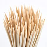 CHuangQi Natural Bamboo Skewers (Pack of 140,4mm,12-Inch) for BBQ, Shish Kabobs,Appetizers