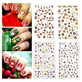 Fanme Christmas Nail Stickers 3D Nail Art Tattoo Decals DIY Nail Art Decoration Self-adhesive Tip Stickers 4Sheets (Christmas)
