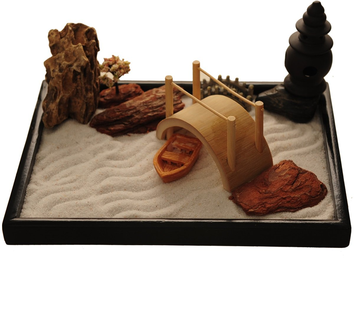 ICNBUYS Zen Garden with Boat Bridge Japanese Censers Set with Free Rake and Pushing Sand Pen Base Tray Dimensions 10 x 7 x 0.4 inches