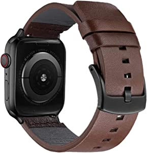 UOOFROM Leather Band Compatible with Apple Watch Band 42mm 44mm, Luxury Genuine Leather Bands Replacement for iWatch Series 5/4/3/2/1 (brown, 42mm(S1、S2、S3)/44mm(S4、S5)