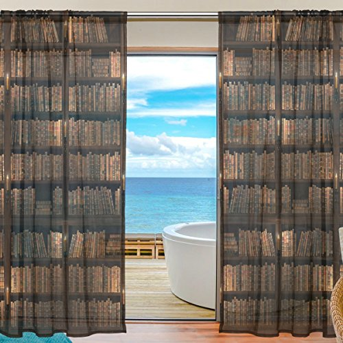 helf Vintage Window Curtain Sheer Panel Drapes 55x84 for Living Room Bedroom Kids Room 2 Pieces (Cooper Shelf)