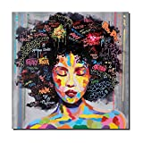 Original Design African American Art Painting Black Women Pop Star Portrait Hand Painted Oil Painting on Canvas Print Wall Decor Unframed (16 x 20 inch)