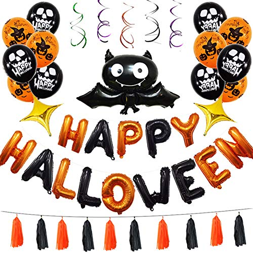 Lucky Shop1234 Pumpkin Ghost Bat Balloons Set Latex Halloween Hanging Swirl Ceiling Balloon for Party Outdoor&Indoor Decoration Supplies (Multi-Color)