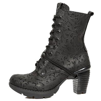 New Rock Schwarze Stiefel IM Vintage-Design mit SchnŸrung und Schwarzer  High Block-Heel 9d102d3688