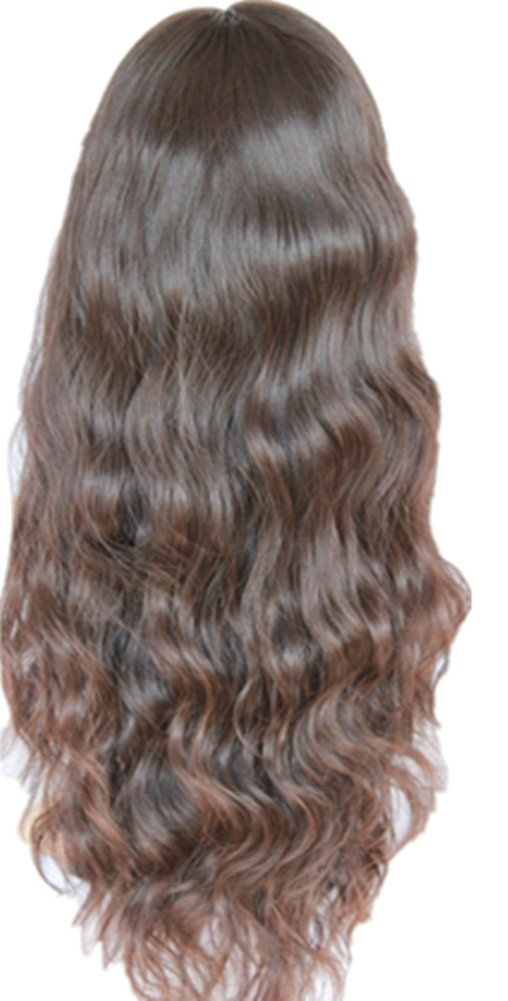 """12""""-22"""" 100% Indian Remy Human Hair Lace Front wigs 100% Indian Remy Natural wavy 4# Medium Brown (16"""")"""