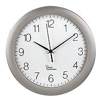 Hama Funk-Wanduhr Küchenuhr (leise, 30cm groß, automatische Zeitanpassung und Zeitumstellung von Sommer- und Winterzeit, modernes Ziffernblatt) Küchenwanduhr silber