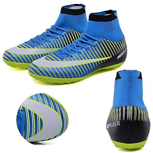 KAMIXIN Chaussures de Football Homme High Top Adulte Professionnel Chaussure de Foot Antidérapant Athlétisme Entrainement Adolescents Chaussures de Sport Bleu-r n2F94r