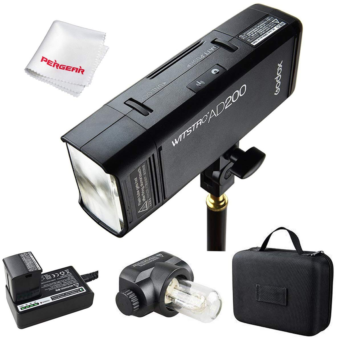 Godox AD200 200Ws 2.4G TTL Flash Strobe 1/8000 HSS Cordless Monolight with 2900mAh Lithimu Battery and Bare Bulb/Speedlite Fresnel Flash Head to Cover 500 Full Power Shots and Recycle in 0.01-2.1 Sec by Godox