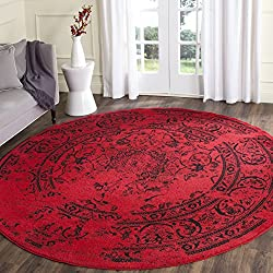 Safavieh Adirondack Collection ADR101F Red and Black Oriental Vintage Distressed Round Area Rug (8' Diameter)