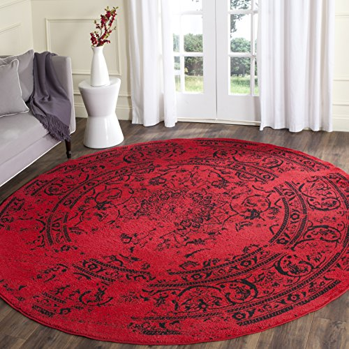 Safavieh Adirondack Collection ADR101F Red and Black Oriental Vintage Distressed Round Area Rug (6' Diameter)