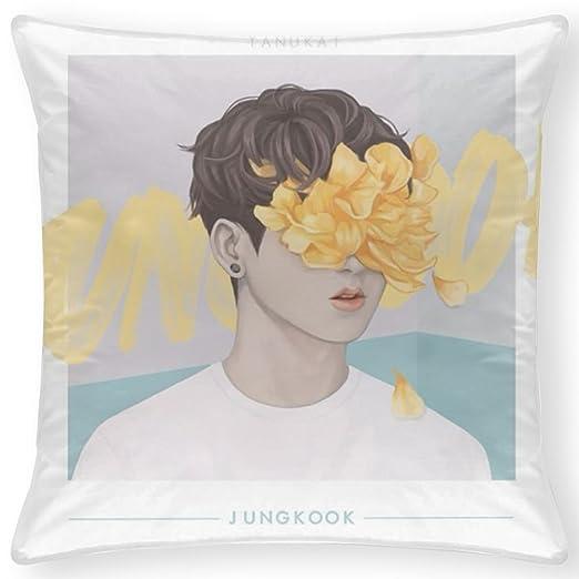 JHLKFDOODO BTS JUNGKOOK FAN ART Funda de almohada de la ...