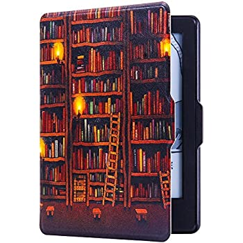 HUASIRU Painting Case for Amazon Kindle Paperwhite (2012, 2013, 2015 and 2016 Versions), Library