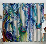 Custom Horse Art Window Curtain,Horse Art Grommet Blackout Curtain Room Darkening Curtains For Bedroom And Kitchen Size 52(W) x 84(H) inches (Two Piece)