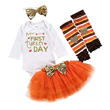 Toddler Baby Girls Thanksgiving Dress Turkey Bowknot Long Bell Sleeve Tulle Tutu Skirt Clothing Set