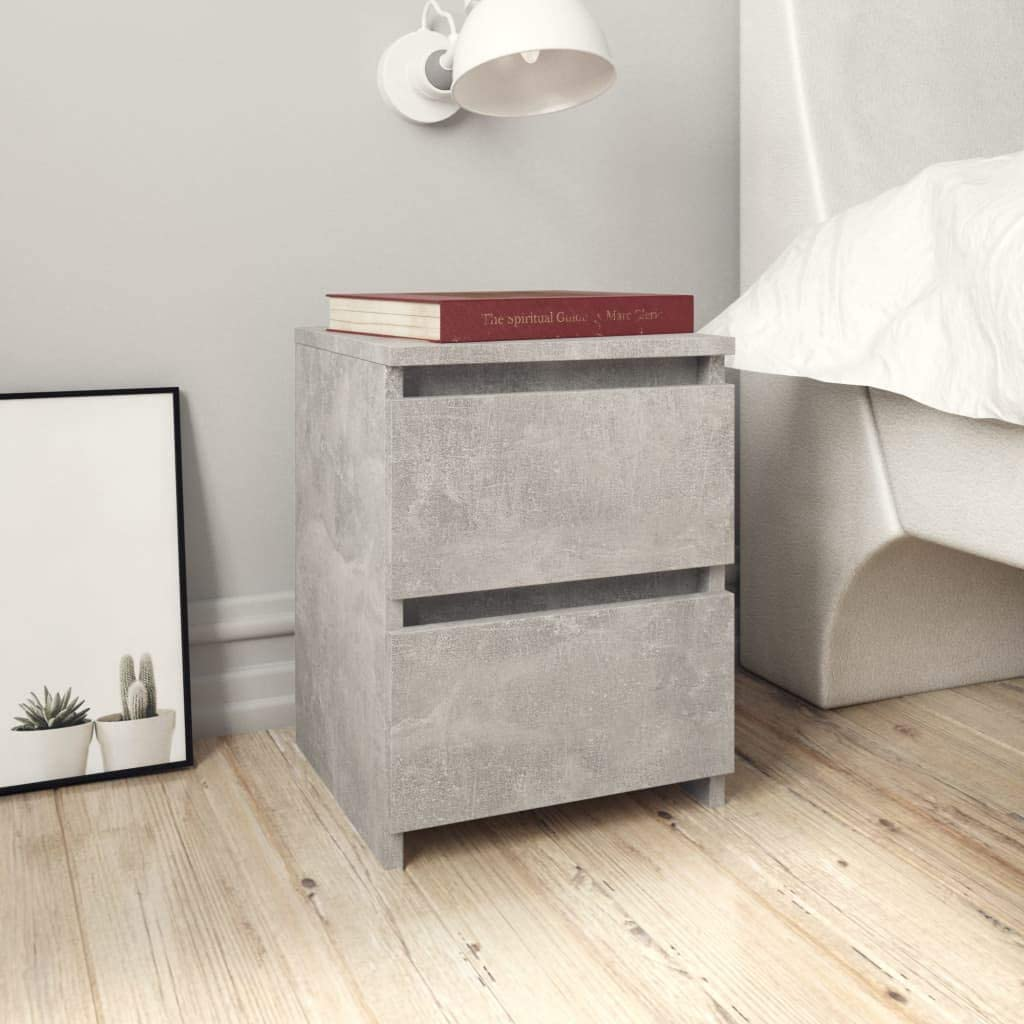 Festnight Bedside Cabinet Nightstand Side Table End Tables Telephone Stand Storage with 2 Drawers Concrete Grey 30x30x40 cm Chipboard