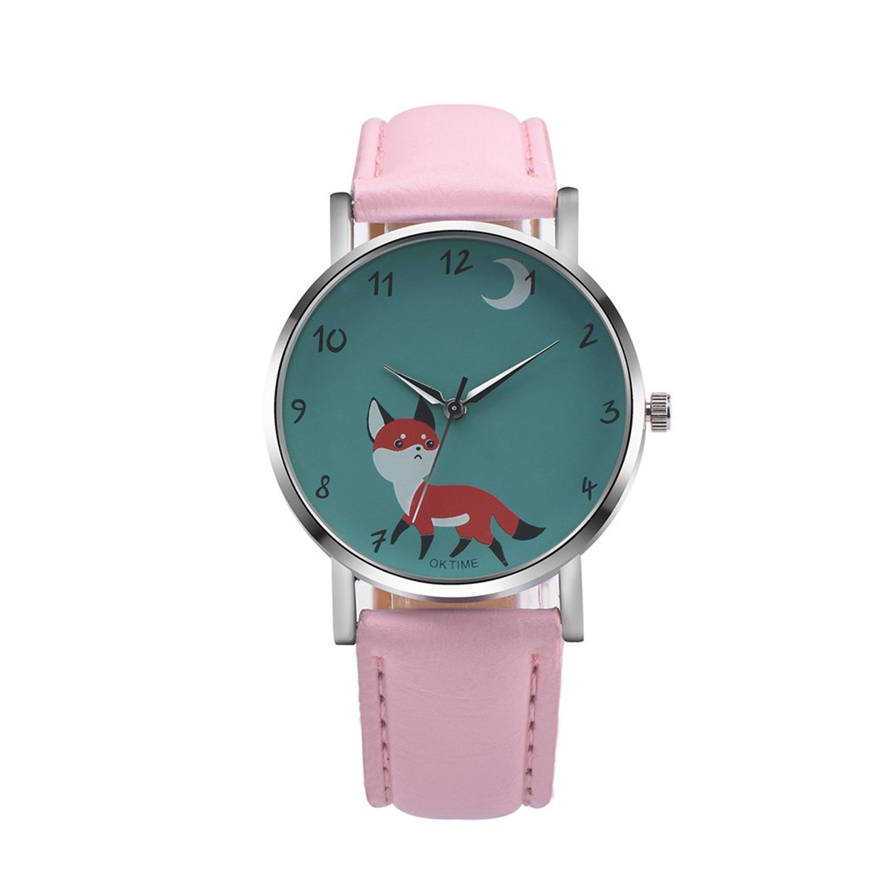 Womens Quartz Watches COOKI Clearance Fox Female Watches on Sale Comfortable Leather Lady Watches-H76 (Pink)