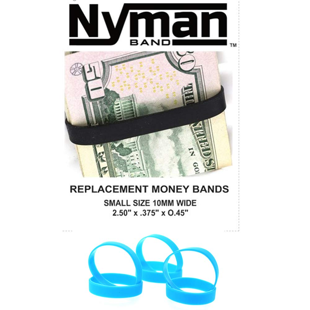 DiamondJewelryNY Cash - Band, 3 Elastic Rubber Bands to Secure Your Money, Credit Cards (Blue)