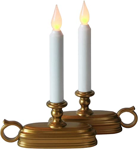 LampLust Battery Window Candles with Timer – Set of 2, Brass Old Fashioned Holders with White Flameless Tapers, Warm Flickering LED, Cordless Christmas Candlestick for Windowsill – Batteries Included