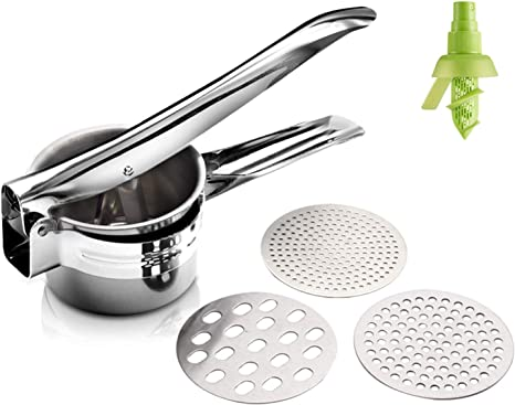 Potato Ricer Set with 3 Ricing Discs Premium Stainless Steel Fruit and Vegetable Masher for All Types of Potatoes Lump Free Potatoes Easy to Use and Clean
