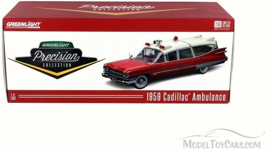 coche modelo 1:18//GreenLight Collectibles Cadillac Ambulance 1959 blanco