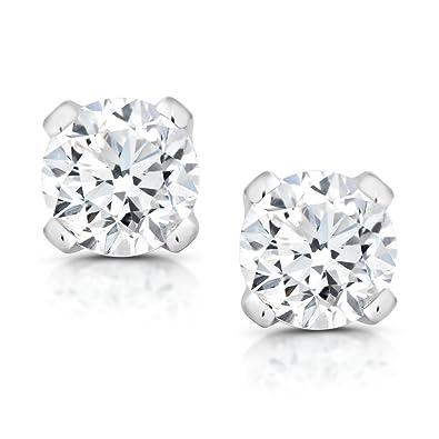 c751262c0 Amazon.com: Gem Stone King 1/5 cttw Round Cut 14K White Gold Diamond Stud  Earrings: Jewelry