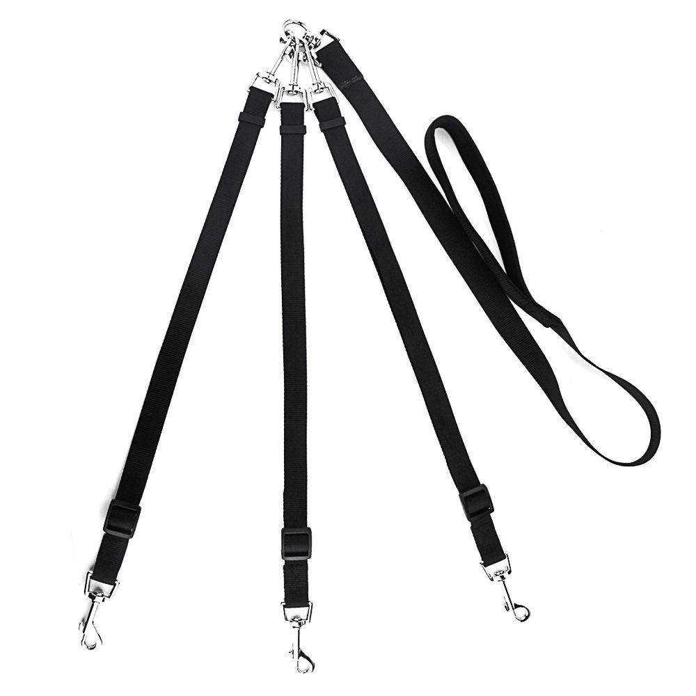 3 in 1 Dog Leashes for Multiple Dogs - Sanwo Adjustable Detachable Nylon Dog Leash with Padded Handle (Black)