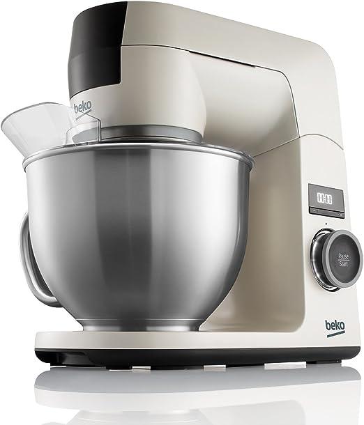 Beko KMD3102W BekoChef® - Robot de Cocina, Bol 4.6 Lt en Acero Inox con Asa, 1000 W, 12 Velocidades, Temporizador Digital, Beige - Acero Inox: Amazon.es: Hogar