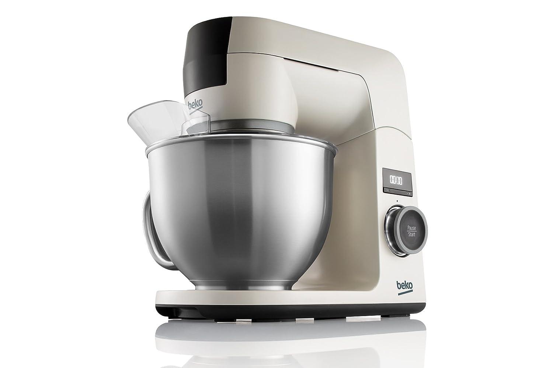 Beko KMD3102W BekoChef® - Robot de Cocina, Bol 4.6 Lt en Acero Inox con Asa, 1000 W, 12 Velocidades, Temporizador Digital, Beige - Acero Inox