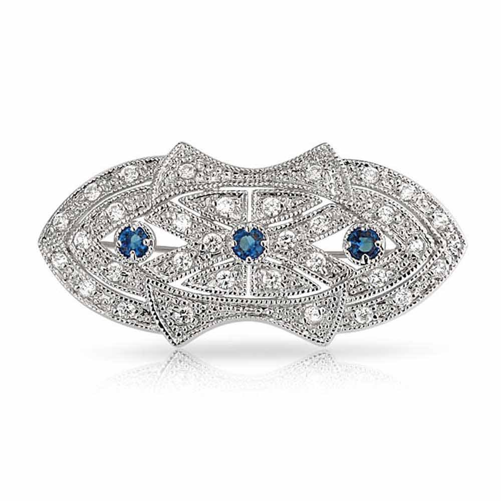Bling Jewelry Art Deco Style Simulated Sapphire CZ Brooch Rhodium Plated