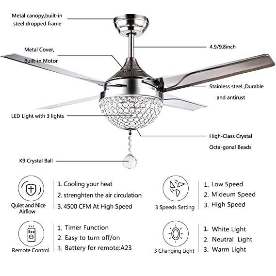 Tropicalfan Crystal Modern Ceiling Fan Remote Control Home