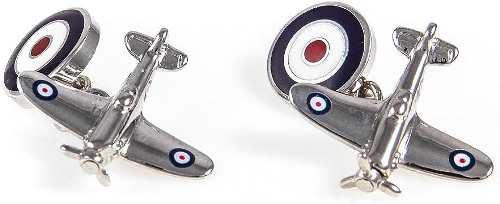 MRCUFF Airplane Plane Spitfire Jet Fighter Bomber Pilot Pair Cufflinks Presentation Gift Box & Polishing Cloth