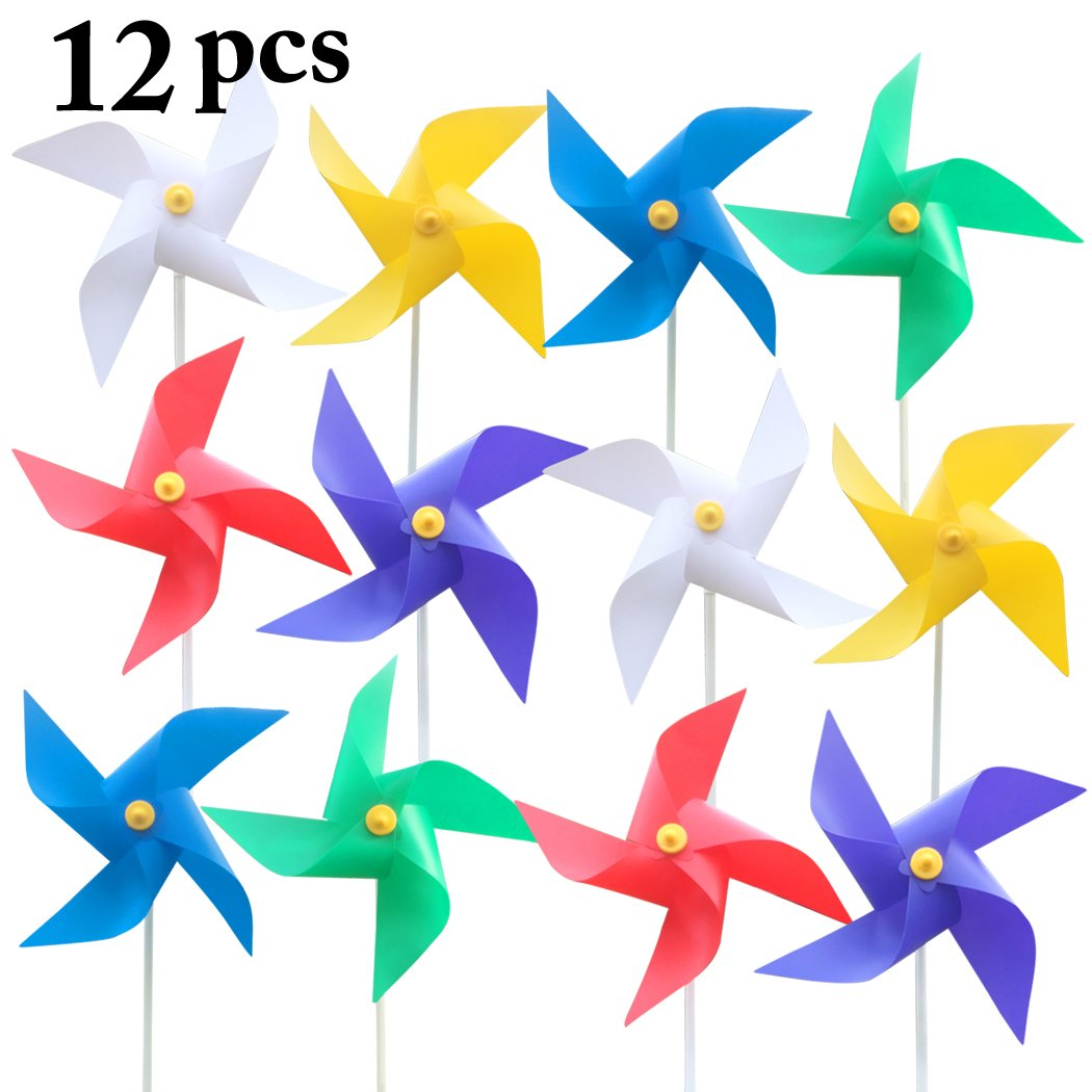 Funpa 12PCS Kids Pinwheel Garden Decor Wind Spinner Solid Color Plastic Pinwheel for Party Outdoor