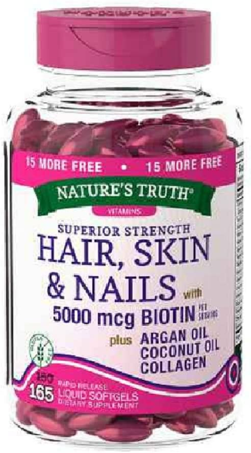 Nature s Truth Superior Strength Hair Skin Nails with Argan Coconut Oil Collagen Pack of 2