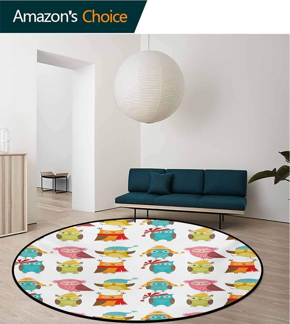 RUGSMAT Winter Computer Chair Floor Mat,Cartoon Style Funny Owls Cute Characters Hats and Scarf Colorful Birdies Pattern Printed Round Carpet for Children Bedroom Play Tent,Round-63 Inch