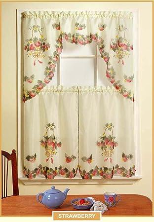 sheradian 3 Stück bedruckt Küche Vorhang Set, Apple, Birne, Erdbeere ...