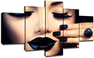 Beauty Fashion Girl with Black Makeup Canvas Art Wall Picture for Salon Decor Women Black Manicure Nail Art Poster Painting Framed Artwork Home Decorations Ready to Hang(60''Wx32''H)