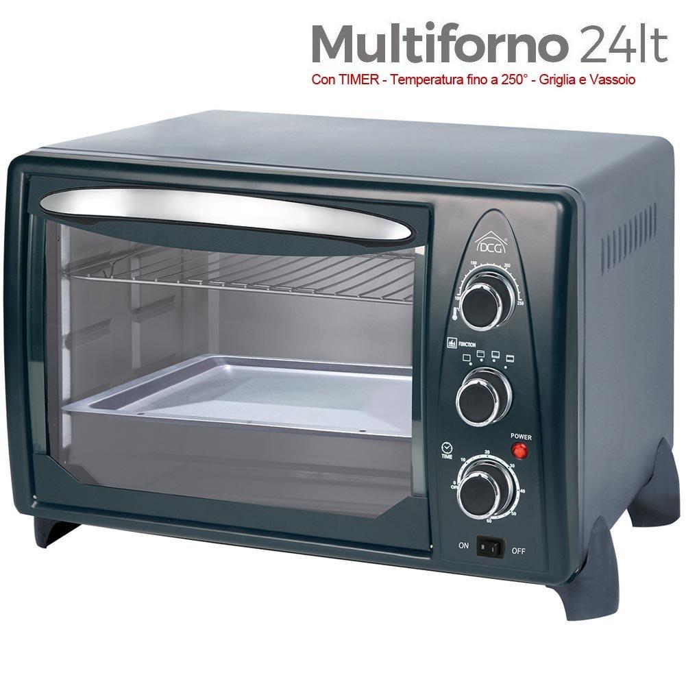DCG Eltronic MB9824 N - Forno elettrico, termostato regolabile, ventilato, spia luminosa, 4 posizioni di calore, Nero/Grigio, 1380 W, 24 litri, 44 x 29 x 30 cm 69908