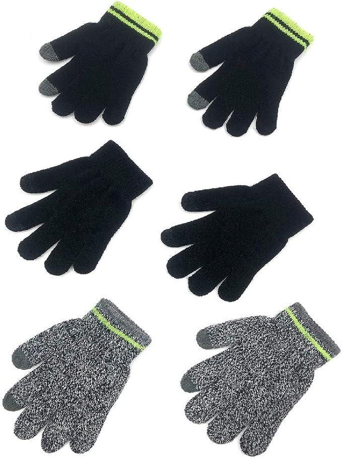 Kids Unisex Warm Magic Striped 2 in 1 Gloves Winter