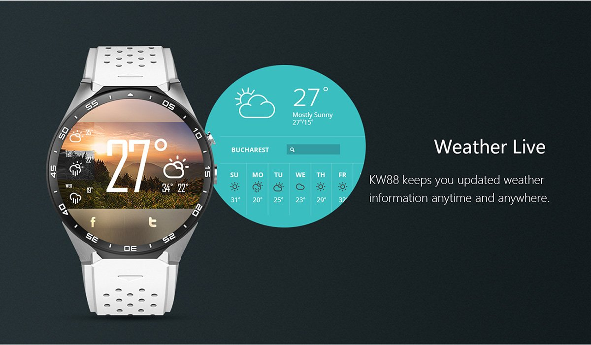 JingJingQi Reloj Inteligente Original KingWear KW88 Android 5.1 ...