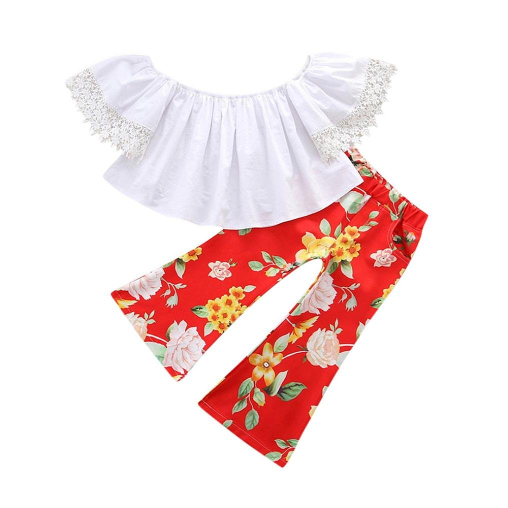 Winsummer 2pcs Baby Girls Kids Off Shoulder Lotus Leaf Tops Flowers Bell-Bottoms Outfits Set
